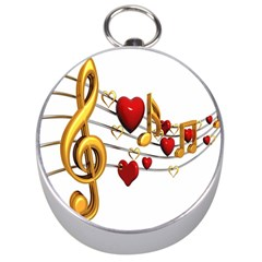Music Notes Heart Beat Silver Compasses