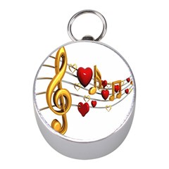 Music Notes Heart Beat Mini Silver Compasses