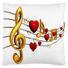 Music Notes Heart Beat Large Flano Cushion Case (One Side)