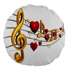 Music Notes Heart Beat Large 18  Premium Flano Round Cushions