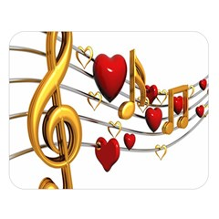 Music Notes Heart Beat Double Sided Flano Blanket (Large)