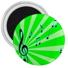 Music Notes Light Line Green 3  Magnets