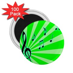Music Notes Light Line Green 2.25  Magnets (100 pack)