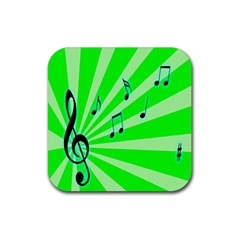Music Notes Light Line Green Rubber Square Coaster (4 pack)