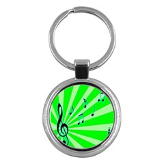 Music Notes Light Line Green Key Chains (Round)