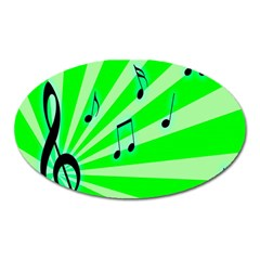 Music Notes Light Line Green Oval Magnet