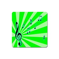 Music Notes Light Line Green Square Magnet