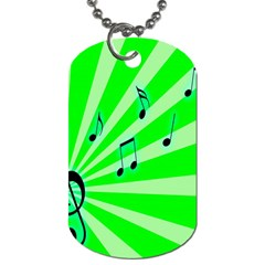 Music Notes Light Line Green Dog Tag (One Side)