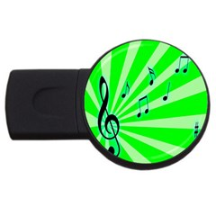 Music Notes Light Line Green USB Flash Drive Round (4 GB)