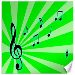 Music Notes Light Line Green Canvas 20  x 20