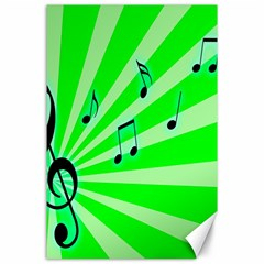 Music Notes Light Line Green Canvas 24  x 36