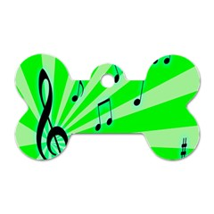 Music Notes Light Line Green Dog Tag Bone (Two Sides)