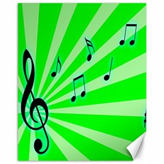 Music Notes Light Line Green Canvas 11  x 14