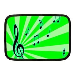 Music Notes Light Line Green Netbook Case (medium)