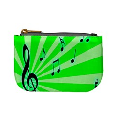 Music Notes Light Line Green Mini Coin Purses