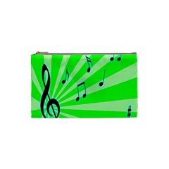 Music Notes Light Line Green Cosmetic Bag (small)