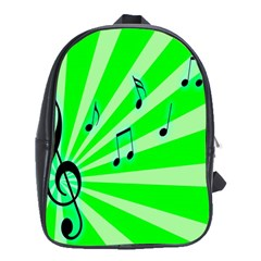 Music Notes Light Line Green School Bags(Large)