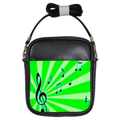 Music Notes Light Line Green Girls Sling Bags
