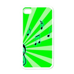 Music Notes Light Line Green Apple iPhone 4 Case (White)