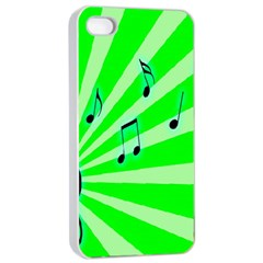 Music Notes Light Line Green Apple iPhone 4/4s Seamless Case (White)