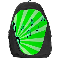 Music Notes Light Line Green Backpack Bag