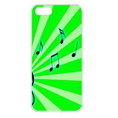 Music Notes Light Line Green Apple iPhone 5 Seamless Case (White)