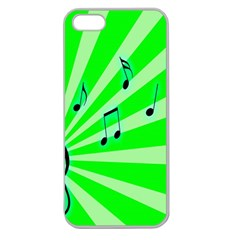 Music Notes Light Line Green Apple Seamless iPhone 5 Case (Clear)