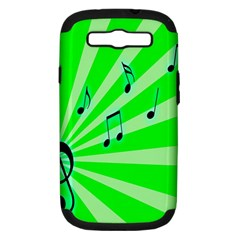 Music Notes Light Line Green Samsung Galaxy S III Hardshell Case (PC+Silicone)