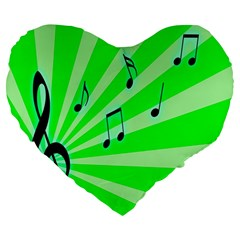 Music Notes Light Line Green Large 19  Premium Heart Shape Cushions
