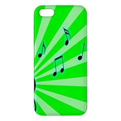 Music Notes Light Line Green iPhone 5S/ SE Premium Hardshell Case