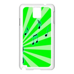 Music Notes Light Line Green Samsung Galaxy Note 3 N9005 Case (White)