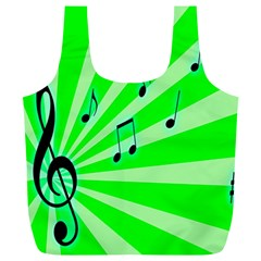 Music Notes Light Line Green Full Print Recycle Bags (L)