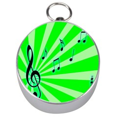 Music Notes Light Line Green Silver Compasses