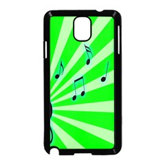Music Notes Light Line Green Samsung Galaxy Note 3 Neo Hardshell Case (Black)