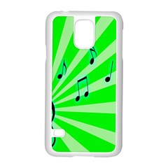Music Notes Light Line Green Samsung Galaxy S5 Case (White)