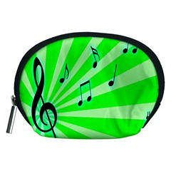 Music Notes Light Line Green Accessory Pouches (medium)