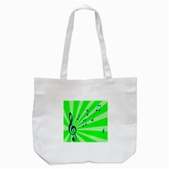 Music Notes Light Line Green Tote Bag (White)