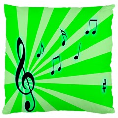 Music Notes Light Line Green Standard Flano Cushion Case (One Side)