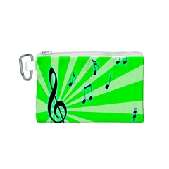Music Notes Light Line Green Canvas Cosmetic Bag (S)