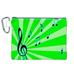 Music Notes Light Line Green Canvas Cosmetic Bag (XL)