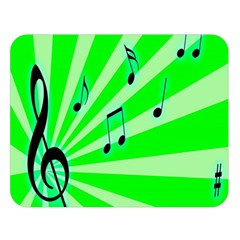 Music Notes Light Line Green Double Sided Flano Blanket (Large)