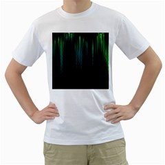 Lines Light Shadow Vertical Aurora Men s T-Shirt (White) (Two Sided)