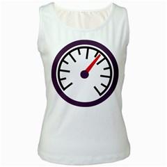 Maker Measurer Hours Time Speedometer Women s White Tank Top