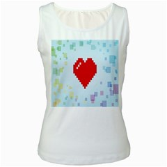 Red Heart Love Plaid Red Blue Women s White Tank Top