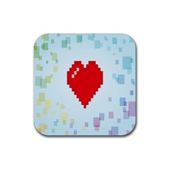 Red Heart Love Plaid Red Blue Rubber Coaster (Square)