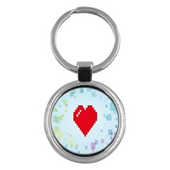 Red Heart Love Plaid Red Blue Key Chains (Round)