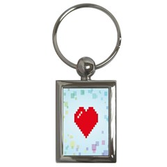 Red Heart Love Plaid Red Blue Key Chains (Rectangle)