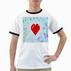Red Heart Love Plaid Red Blue Ringer T-Shirts