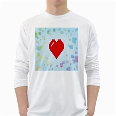 Red Heart Love Plaid Red Blue White Long Sleeve T-Shirts