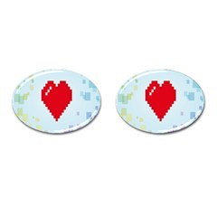 Red Heart Love Plaid Red Blue Cufflinks (Oval)